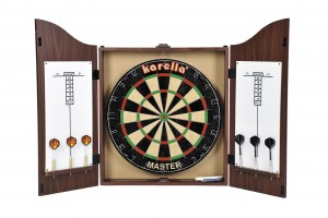 Darts Cabinet Kings Head, antique brown stained.