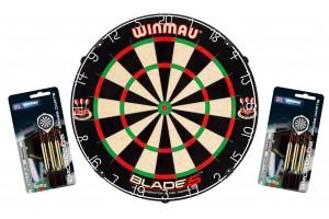 Dartboard WINMAU Original Blade 5 + 2 Steeldart Sets Broadside Brass