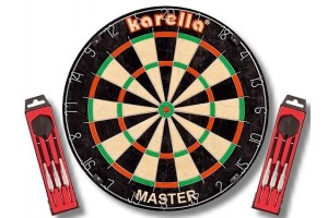 Karella MASTER Wettkampf-Dartboard + 2 Set Steeldart ST1