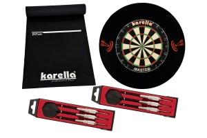 Dartboard Karella-Set mit Dartboard, Dartmatte ECO-Star, 2 Dartpfeilsätzen ST-1 und 4-tlg. Catchring