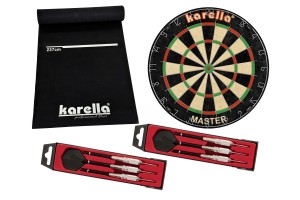 Dartboard Karella-Set mit Dartboard, Dartmatte ECO-Star und 2 Dartpfeilsätzen ST-1