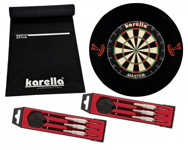 Foto Dartboard Karella-Set mit Dartboard, Dartmatte ECO-Star, 2 Dartpfeilsätzen ST-1 und 4-tlg. Catchring ZUB.KAR.8150.05-01