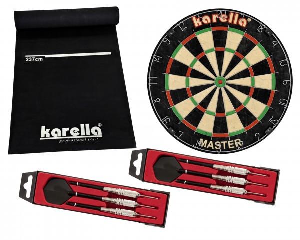 Foto Dartboard Karella-Set mit Dartboard, Dartmatte ECO-Star und 2 Dartpfeilsätzen ST-1 ZUB.KAR.8150.03-01